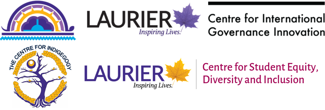 Logos for Indigenous Initiatives, WLU, CIGI, the Centre for Indigegogy and the WLU Centre for Student Equity, Diversity and Inclusion