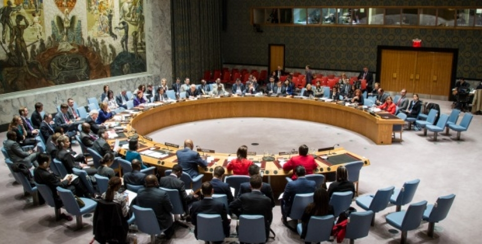 A wide view of the Security Council meeting on the Council's working methods. October 23, 2014. (UN Photo/Loey Felipe)