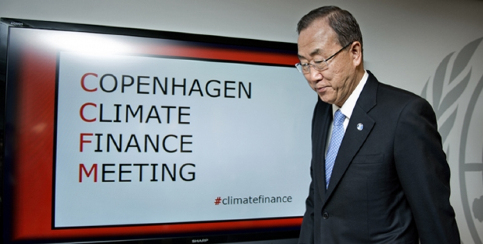 UN Secretary General Ban Ki-moon arrives at the Copenhagen Climate Finance Meeting in October 2013 (Lars Krabbe, AP).