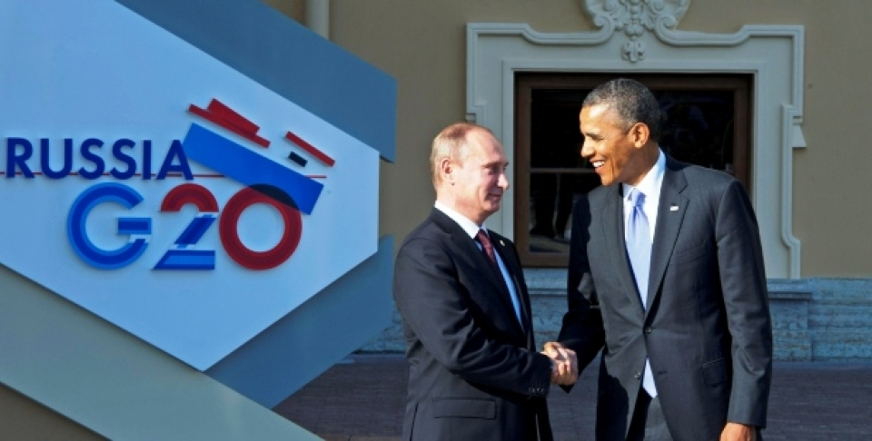 Russian President Vladimir Putin and U.S. President Barack Obama at the G20 Summit in St. Petersburg, September 5, 2013. (UN Photo/Eskinder Debebe)