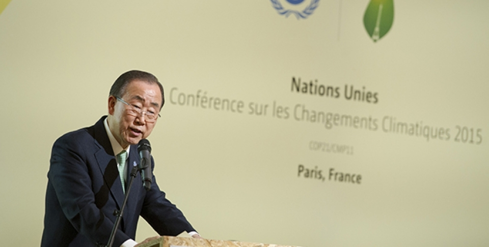 UN Secretary-General Ban Ki-moon addresses a High-level Meeting on Climate Resilience, held on the margins of the UN Climate Change Conference in Paris (COP21). (UN Photo/Rick Bajornas)