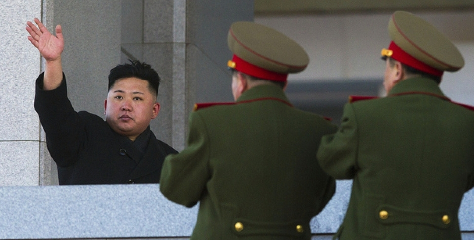 North Korean leader Kim Jong Un waves at Kumsusan Memorial Palace in Pyongyang after reviewing a parade of thousands of soldiers and commemorating the 70th birthday of his late father Kim Jong Il on Thursday, Feb. 16, 2012. (AP Photo/David Guttenfelder)