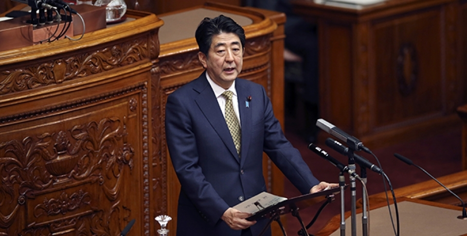 Japanese Prime Minister Shinzo Abe speaks during discussion about new law of Japan's military role at the Upper House plenary session in Tokyo, Monday, July 27, 2015. (AP Photo/Koji Sasahara)