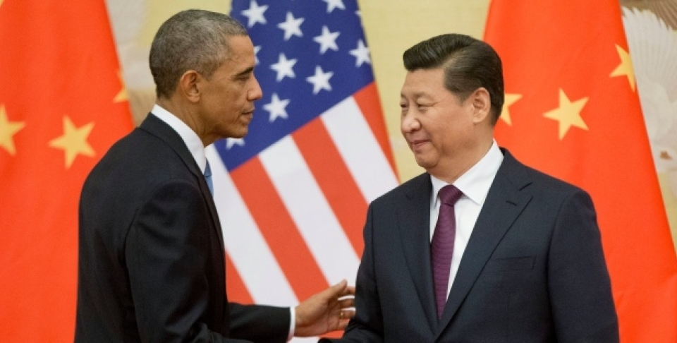 U.S. President Barack Obama, left, and Chinese President Xi Jinping shake hands following the conclusion of their joint news conference at the Great Hall of the People in Beijing, Wednesday, Nov. 12, 2014. (AP Photo/Pablo Martinez Monsivais)