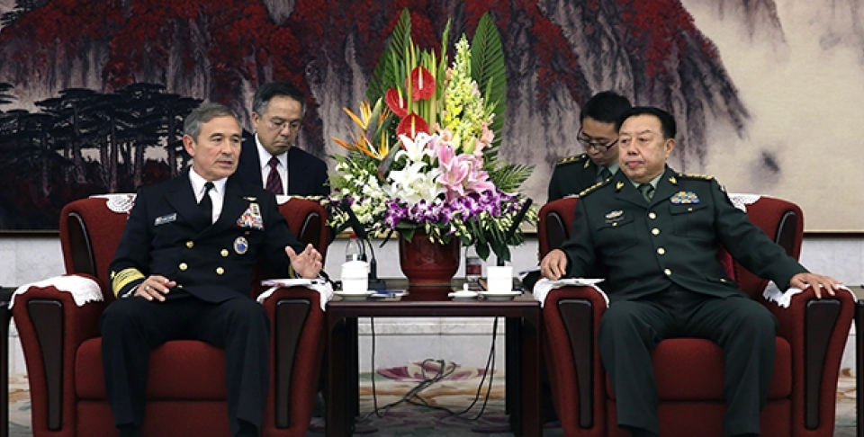 Adm. Harry B. Harris, Jr., U.S. Navy Commander, U.S. Pacific Command, left, speaks during a meeting with Fan Changlong, vice-chairman of China's Central Military Commission at the Bayi Building in Beijing, China, Tuesday, Nov. 3, 2015. (AP Image / Andy Wong, Pool)
