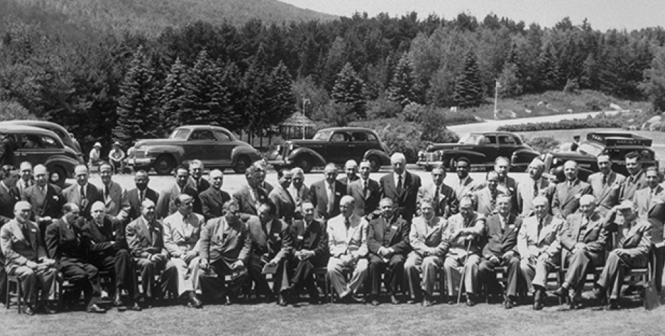 Pictured at the 1944 international monetary conference at Bretton Woods, N.H., are the chairs of each delegation. (AP Photo)