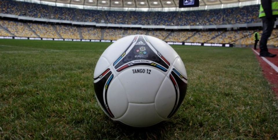 The 'Tango 12' official match ball is seen in Kiev's Olympic stadium (AP Photo/Efrem Lukatsky)