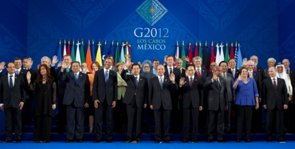 Leaders assemble for the 'family photo' at the 2012 G20 Summit, in Los Cabos, Mexico. (AP Photo/Carolyn Kaster)
