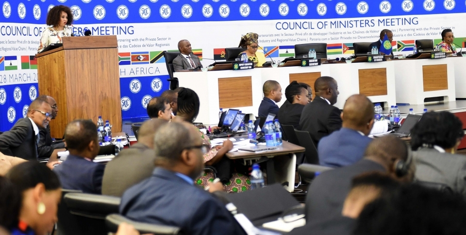 Lindiwe Sisulu, chairperson of the SADC Council of Ministers, gives opening remarks at the council's March 2018 meeting. (DIRCO Photo)