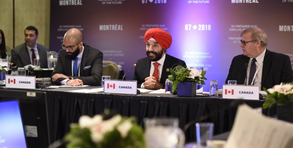 Navdeep Bains, Canada's Minister of Innovation, Science and Economic Development, speaks at a Group of Seven ministers' meeting on employment and innovation. (Global Affairs Canada)