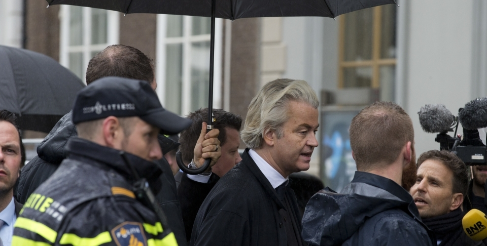 Geert Wilders outside the Turkish embassy in The Hague, Netherlands (AP Photo/Peter Dejong)