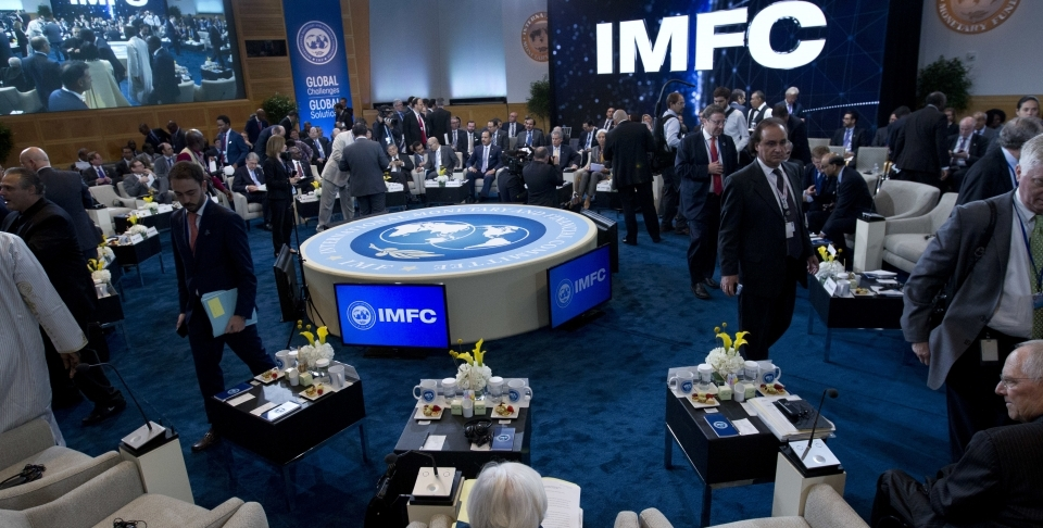 International Monetary and Financial Committee conference at World Bank/IMF Annual Meetings in Washington, Saturday, Oct. 14, 2017. ( AP Photo/Jose Luis Magana)