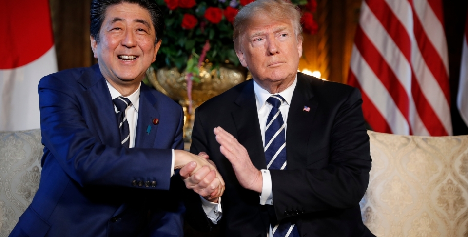 President Donald Trump and Japanese Prime Minister Shinzo Abe at Mar-a-Lago in April 2018. (AP Photo/Pablo Martinez Monsivais, File)