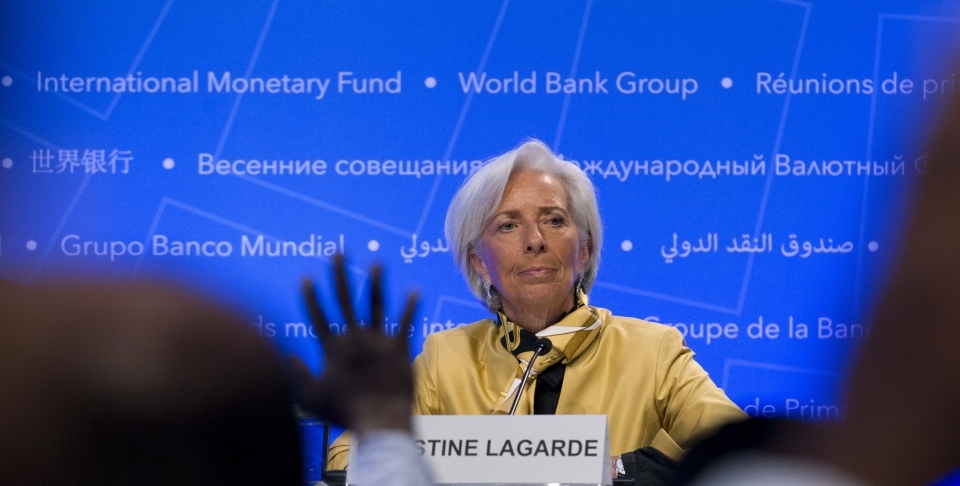 International Monetary Fund (IMF) Managing Director Christine Lagarde speaks during a news conference at the World Bank/IMF Spring Meetings, in Washington, Thursday, April 19, 2018. (AP Photo/Jose Luis Magana)