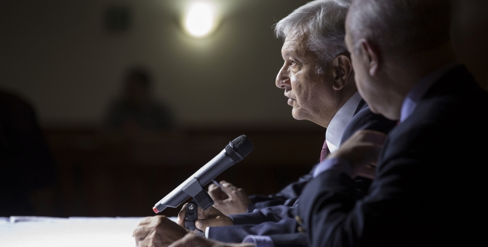 Mexico's President-elect Andres Manuel Lopez Obrador gives a press conference in Mexico City on July 5, 2018. (AP Photo/Moises Castillo)