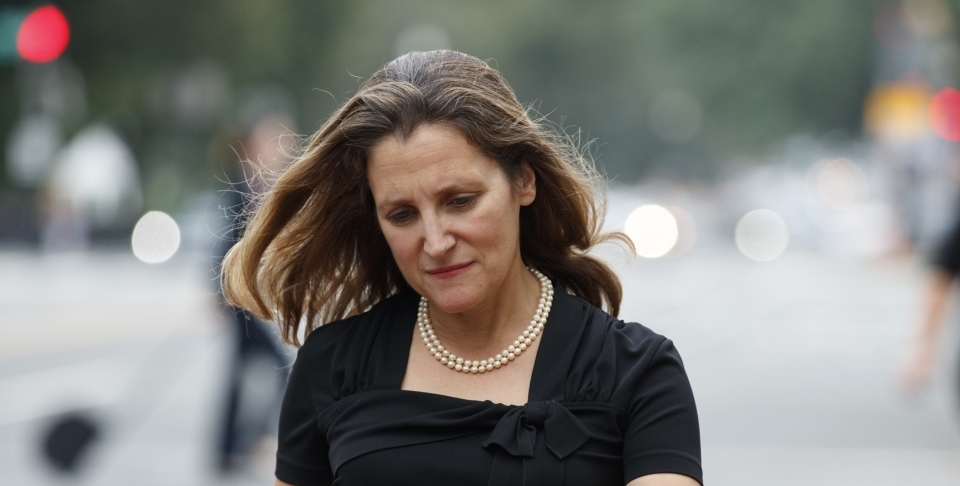Canadian Foreign Affairs Minister Chrystia Freeland walks from her vehicle as she arrives at the Office of the United States Trade Representative, on September 11 2018. (AP Photo/Carolyn Kaster)