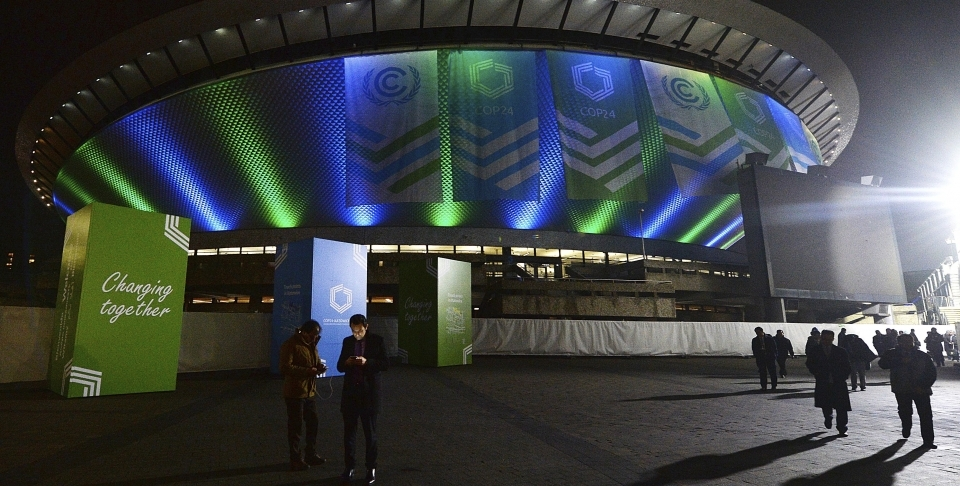 Participants in the United Nations climate talks leave the venue at the end of the day's session in Katowice, Poland, on December 12, 2018. (AP Photo/Czarek Sokolowski)