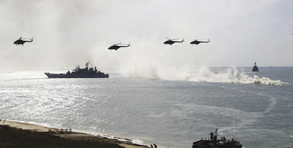 Russian navy ships and helicopters during military drills on the Black Sea (AP Photo/Pavel Golovkin)