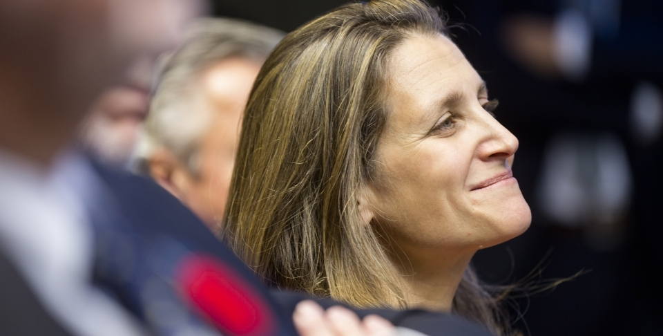 Canada's Chrystia Freeland (AP Photo/Thierry Monasse)