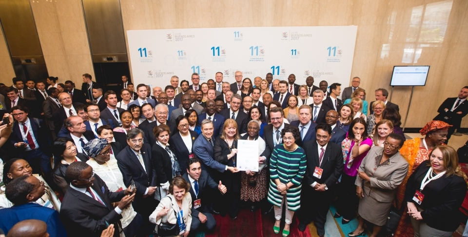 Declaration signatories pose for a photo at the World Trade Organization ministerial conference in Buenos Aires. (WTO/Cuika Foto)