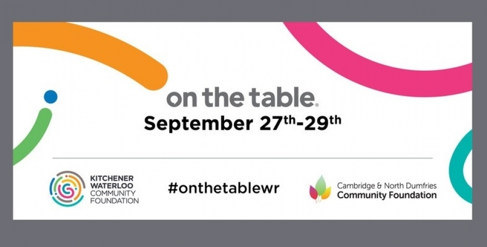 "Promotional image for ""On the Table"" events (Kitchener Waterloo Community Foundation)"