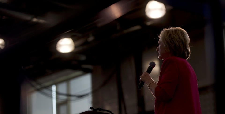 Democratic Presidential nominee Hillary Clinton holds a rally at West Philadelphia High School in Philadelphia, Pennsylvania, August 16, 2016. REUTERS/Mark Makela