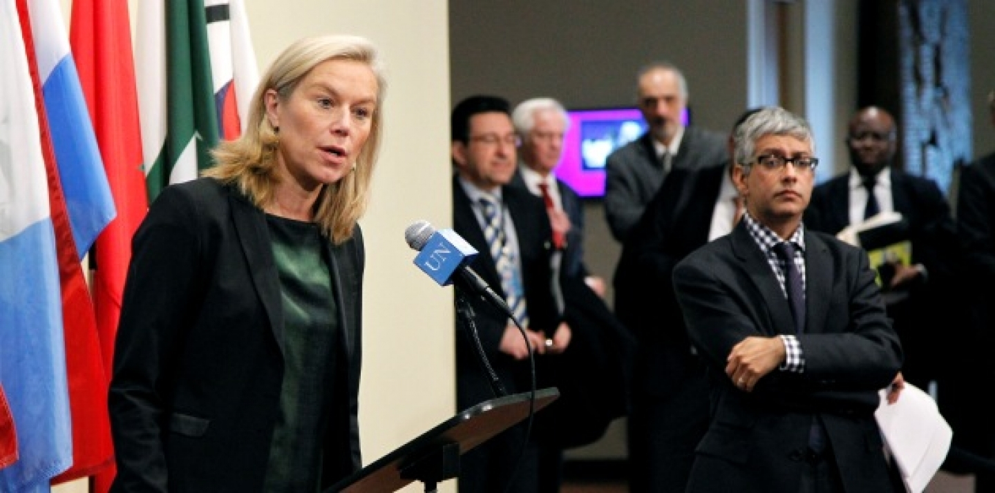 Sigrid Kaag, Special Coordinator of the OPCW-UN Joint Mission to eliminate Syria's chemical weapons programme, speaks to the press following her briefing to the Security Council in closed-door consultations, November 5, 2013. (UN Photo/Paulo Filgueiras)