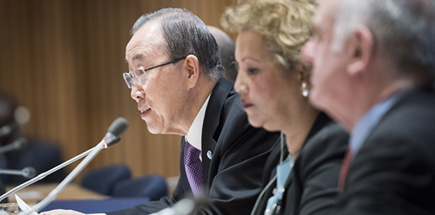 Secretary General Ban Ki-moon briefs member states, in February 2016, on the high-level signing ceremony for the Paris Agreement (COP21) taking place on April 22, 2016. (UN Photo/Mark Garten)