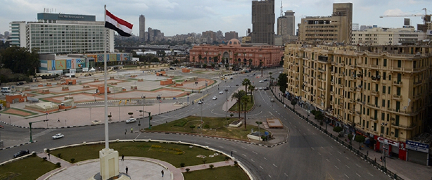 Cairo's central Tahrir Square, once epicenter of Egypt's protest movements, stands mostly empty of pedestrians and traffic on the fifth anniversary of the country's 2011 Arab Spring uprising, January 25, 2016. (AP Photo/Brian Rohan)