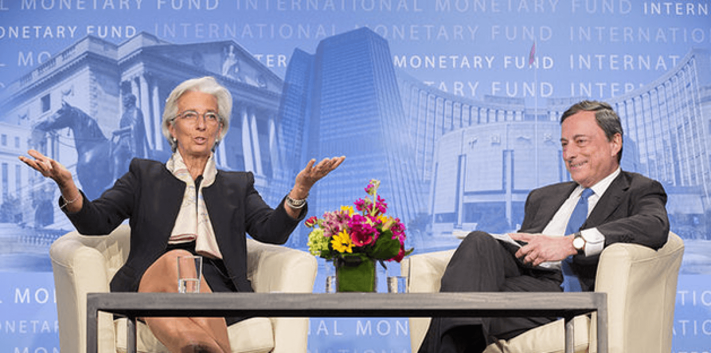 International Monetary Fund Managing Director Christine Lagarde (L) and the President of the European Central Bank Mario Draghi (R). IMF Staff Photo/Stephen Jaffe