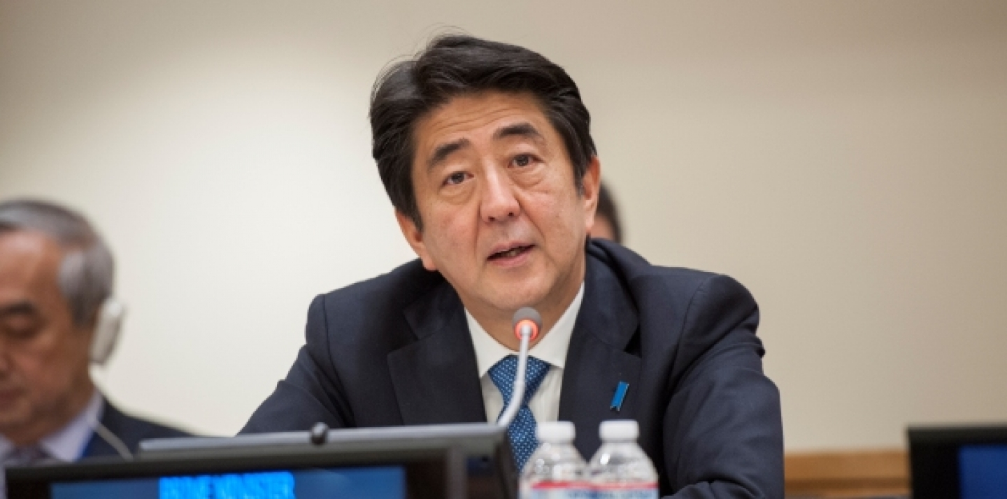 Shinzo Abe, Prime Minister of Japan, addresses the high-level summit on Strengthening International Peace Operations, held on the margins of the General Assembly general debate. Photo taken September 26, 2014. (UN Photo/Cia Pak)