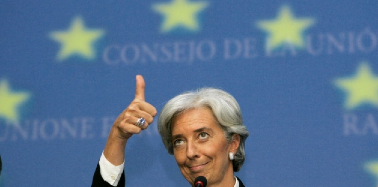 IMF Managing Director Christine Lagarde shows thumbs up during a meeting of finance ministers in Luxembourg (AP Photo/Yves Logghe).