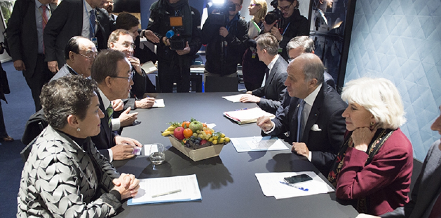 UN Secretary-General Ban Ki-moon meets with Laurent Fabius, President of the UN Climate Change Conference (COP21) and Minister of Foreign Affairs of France, on December 5, 2015. (UN Photo/Eskinder Debebe)