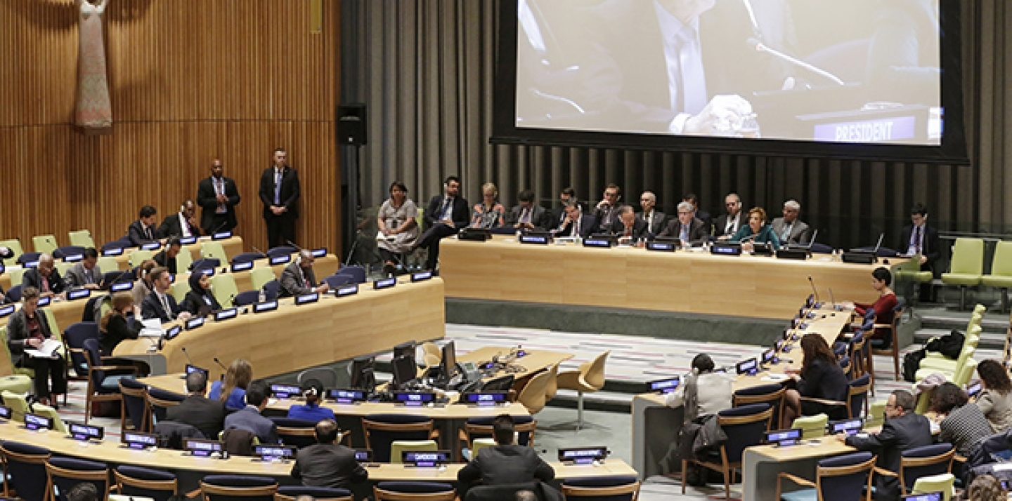 On Dec. 15 in New York, UN Secretary-General Ban Ki-moon briefed Member States on the historic Paris Agreement adopted on 12 December by the 2015 UN Climate Change Conference (COP21) hosted by France. (UN Photo/Evan Schneider)