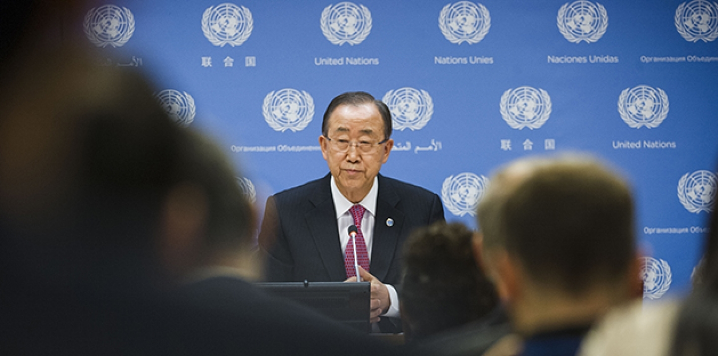 UN Secretary-General Ban Ki-moon addresses journalists, on Dec. 16 in New York, at his end-of-year press conference. The issues he touched on included the recently adopted Paris Agreement on climate change. (UN Photo/Amanda Voisard)