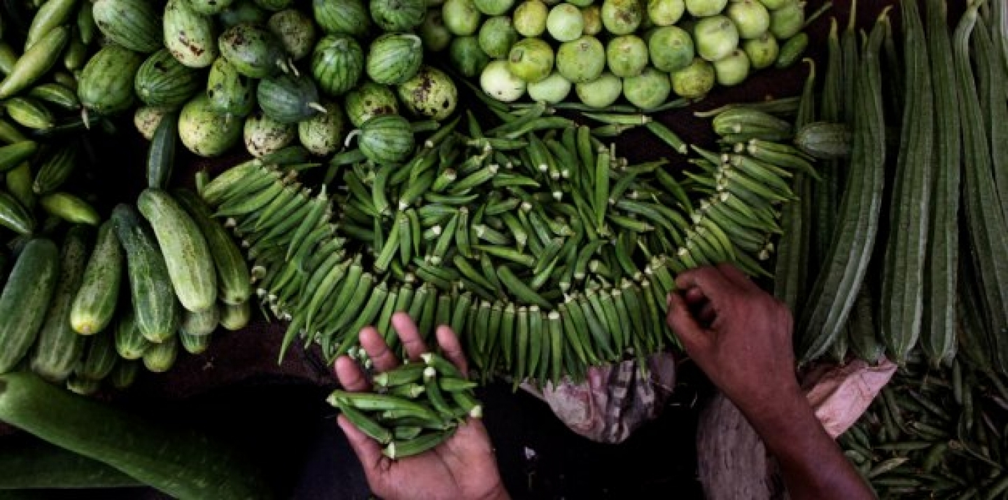 An Indian vendor arranges vegetables at his stall in Gauhati, India, Tuesday, May 15, 2012. India's inflation accelerated to a worse than expected 7.2 percent in April, on rising food and manufacturing prices. (AP Photo/Anupam Nath)