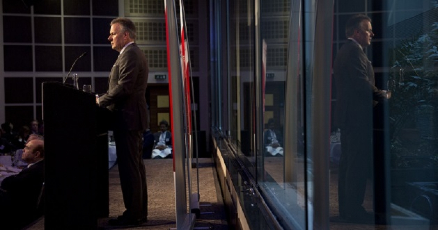 Stephen S. Poloz, the Governor of the Bank of Canada, gives a speech to the Canada-United Kingdom Chamber of Commerce in London, Thursday, March 26, 2015. (AP Photo/Matt Dunham)