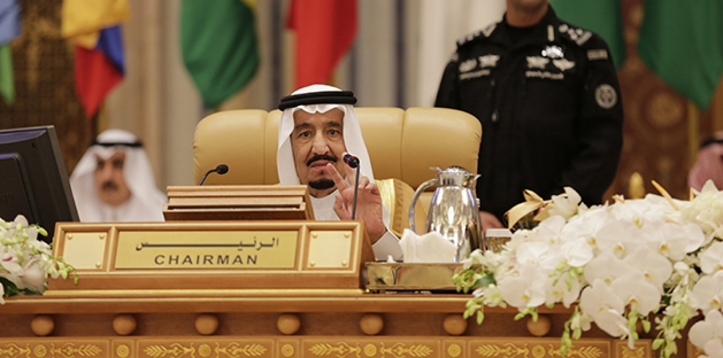 King Salman of Saudi Arabia addresses participants during the final session summit of the Arab and South American leaders in Riyadh, Saudi Arabia, November 11, 2015. (AP Photo/Hasan Jamali)