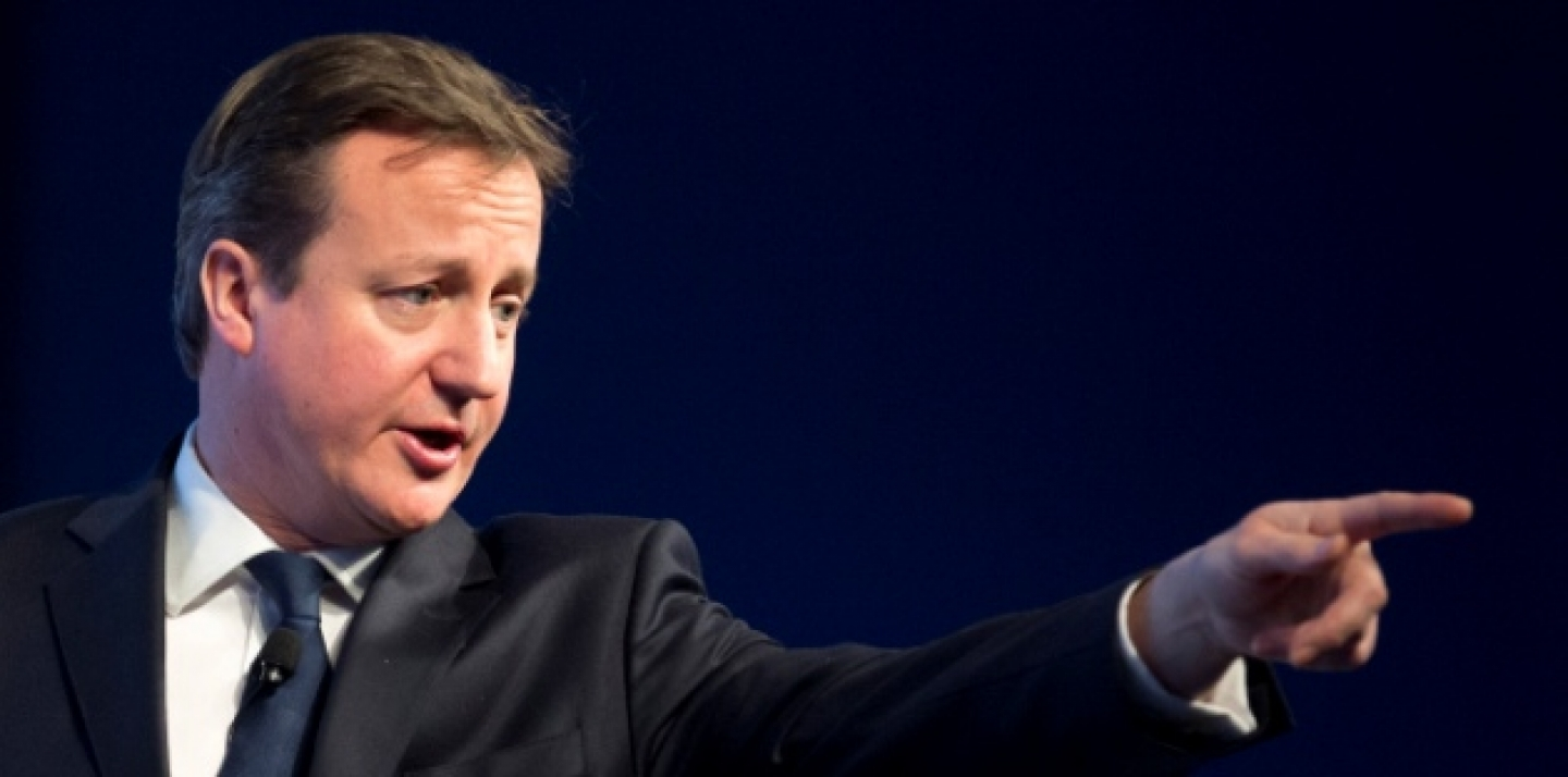 British Prime Minister David Cameron reacts during his speech at the 43rd Annual Meeting of the World Economic Forum, in Davos, Switzerland, on Jan. 24, 2013. (AP Photo/Anja Niedringhaus)