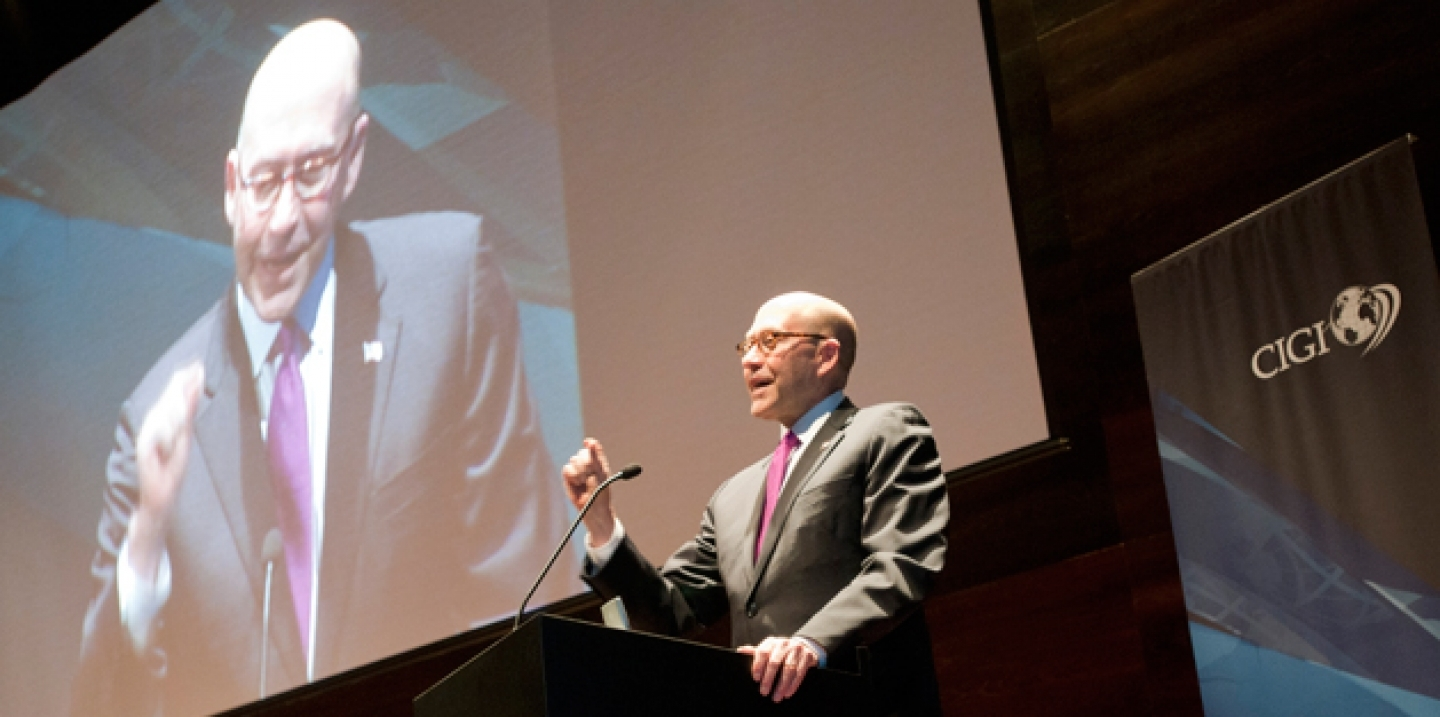 The U.S. ambassador to Canada, David Jacobson speaking at Signature Lecture Series