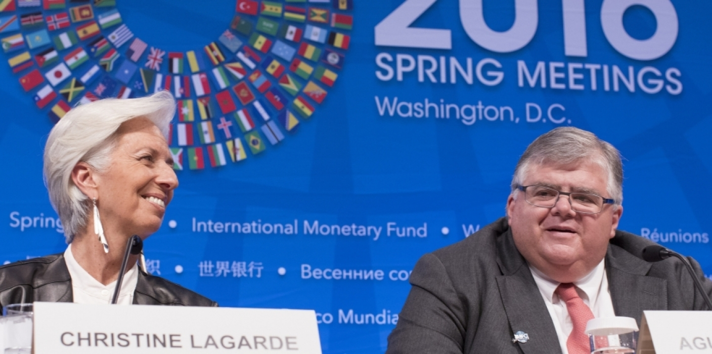 International Monetary Fund Managing Director Christine Lagarde (L) and IMFC Chairman Agustín Carstens (R) hold their joint press conference after the conclusion of the IMFC meeting at the IMF/World Bank Spring Meetings at the IMF Headquarters April 16, 2016 in Washington. (Photo: IMF/Stephen Jaffe)