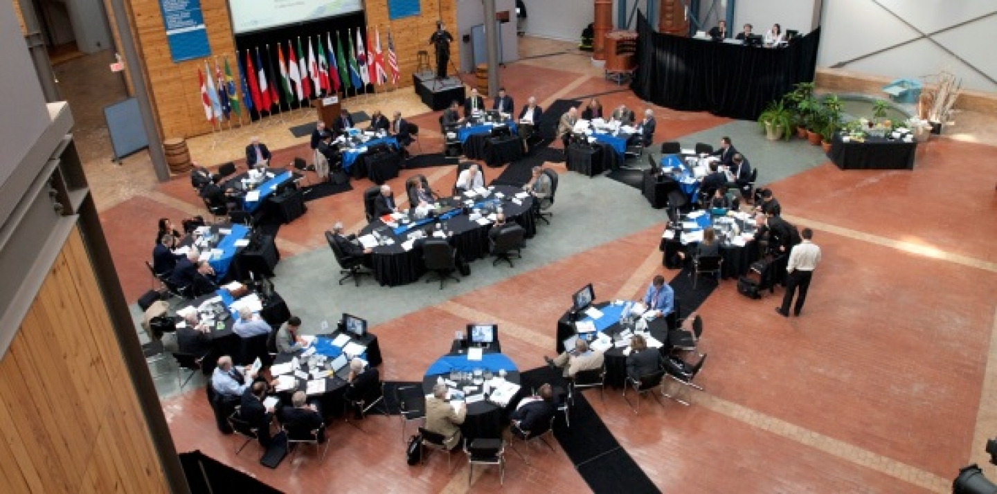 The CIGI Atrium during a conference in May 2011 (Lisa Malleck/CIGI Photo).