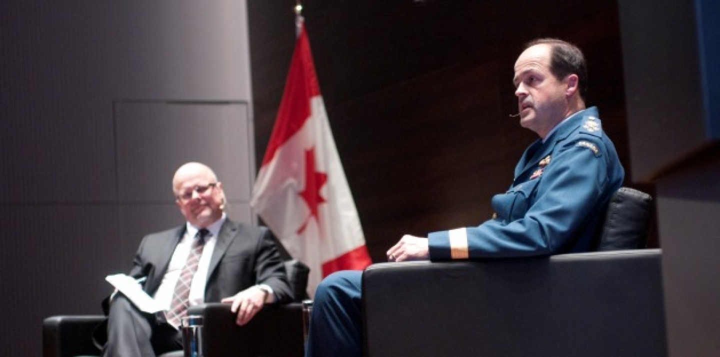 General Tom Lawson sits down to answer questions from the CIGI audience. (Lisa Malleck/CIGI)