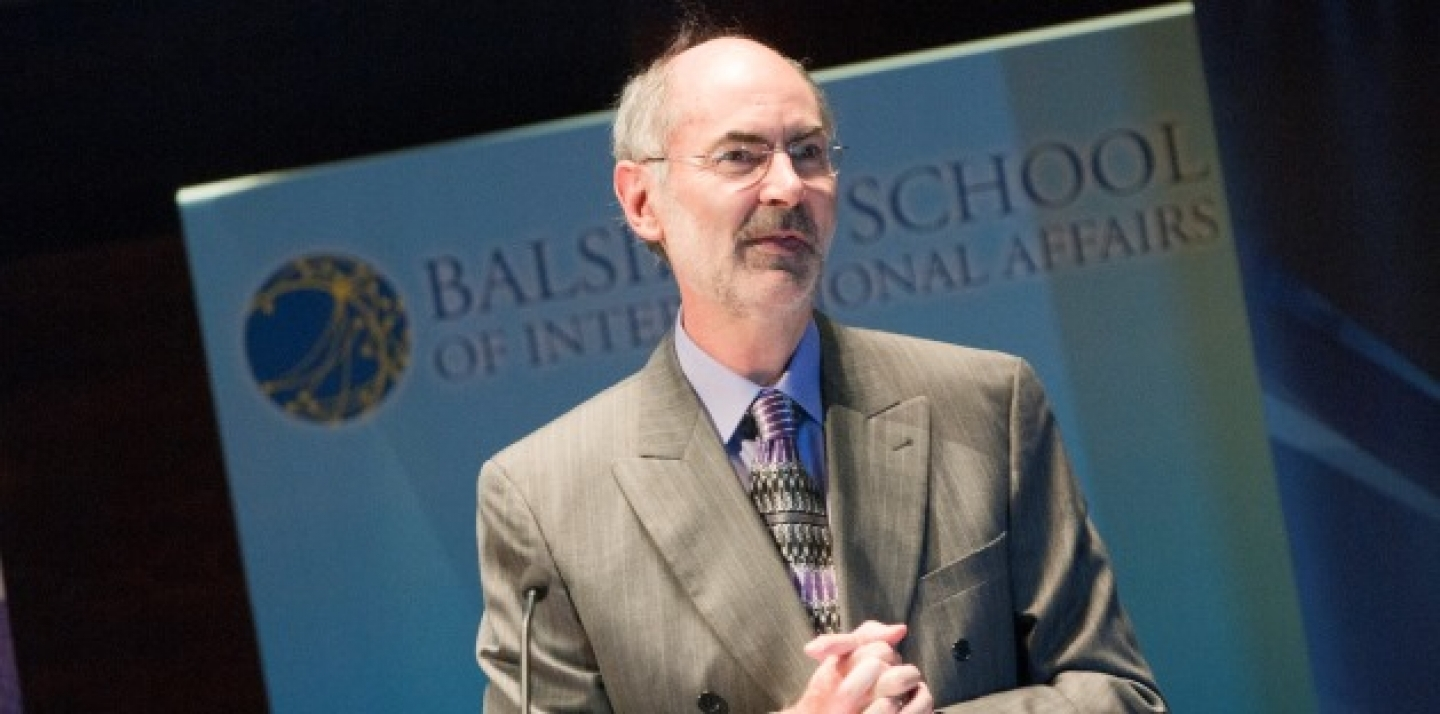 "John Ravenhill, director of the Balsillie School of International Affairs, addresses the audience in his CIGI Signature Lecture ""A Crisis in Global Governance?"" (Lisa Malleck/CIGI)"