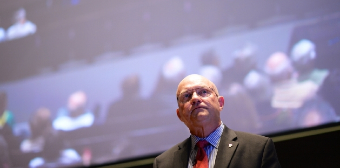 "Lawrence Wilkerson, former chief of staff to US Secretary of State Colin Powell, who delivered a keynote on ""The Travails of Empire,"" at this week's CIGI Signature Lecture. (CIGI Photo)"