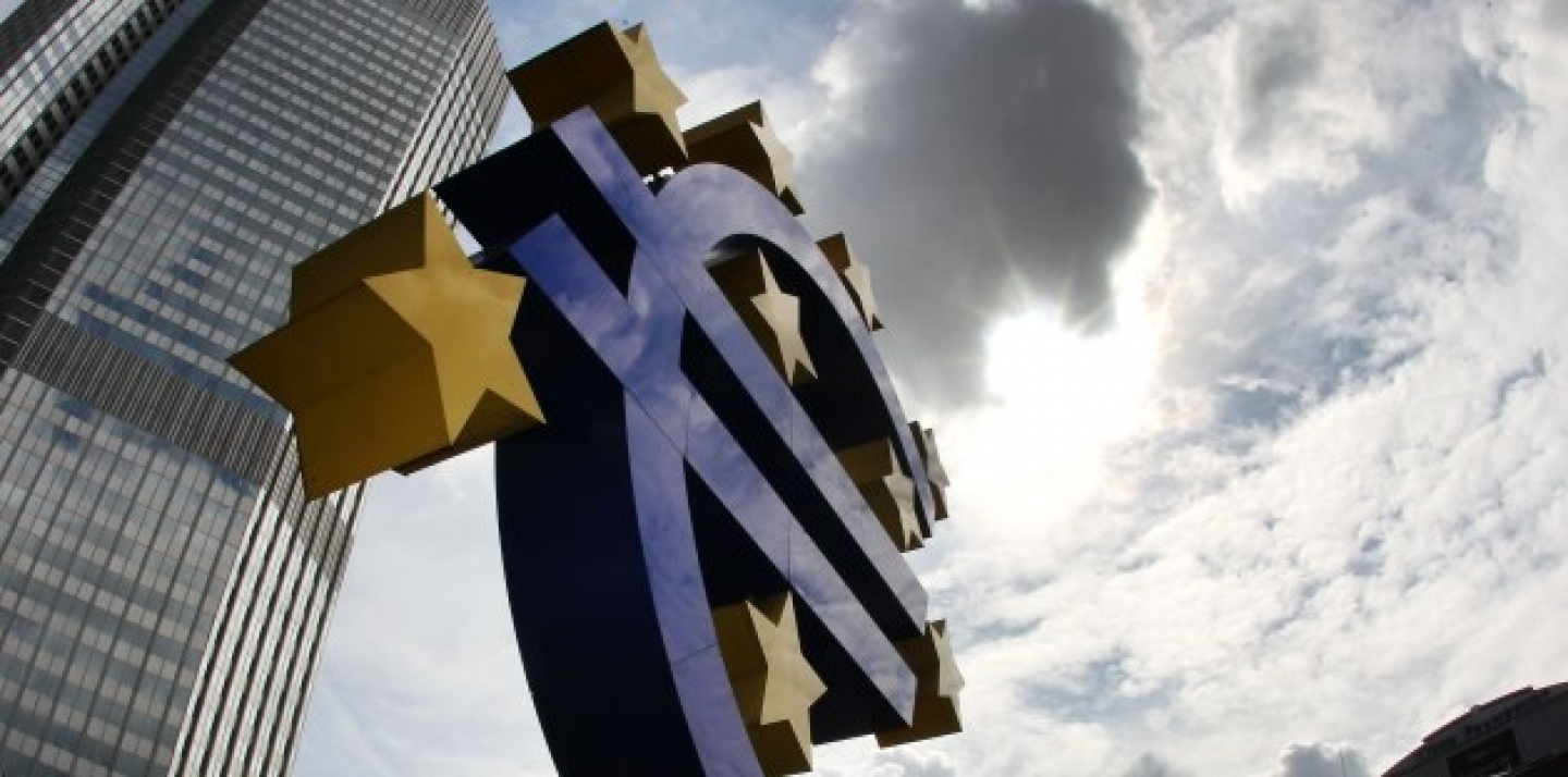The euro sculpture stands in front of the headquarters of the European Central Bank, ECB, in Frankfurt, Germany. (AP Photo/Michael Probst, File)