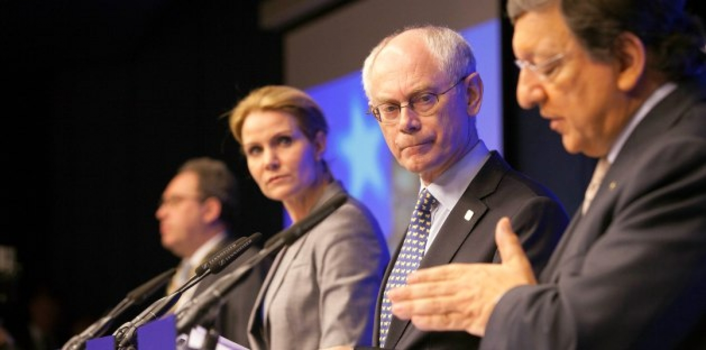 From right, European Commission President Jose Manuel Barroso, European Council President Herman Van Rompuy and Denmark's Prime Minister Helle Thorning-Schmidt participate in a media conference at an EU Summit on June 29, 2012 (AP Photo/Virginia Mayo).