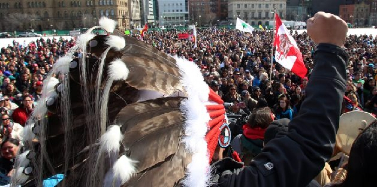 Hundreds of supporters gather on Parliament Hill, in support of a group of young aboriginal people who traveled 1,600 km on foot from the James Bay Cree community of Whapmagoostui, Quebec on Parliament Hill in Ottawa. (THE CANADIAN PRESS/ Fred Chartrand)