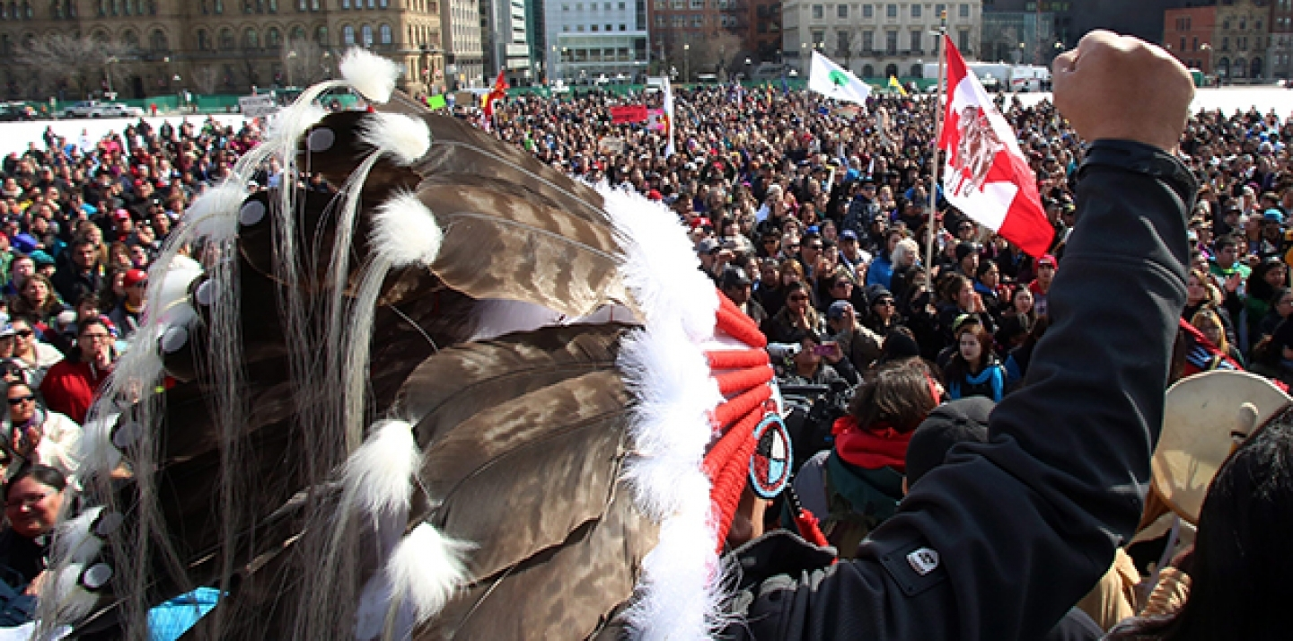 Hundreds of supporters gather on Parliament Hill, in support of a group of young aboriginal people who traveled 1,600 km on foot from the James Bay Cree community of Whapmagoostui.  (Fred Chartrand / AP Images)