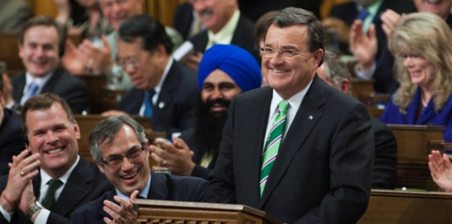 Jim Flaherty, Minister of Finance, stands in the House of Commons before tabling Budget 2011: The Next Phase of Canada's Economic Action Plan. (Stephen Harper staff photo via Flickr CC)